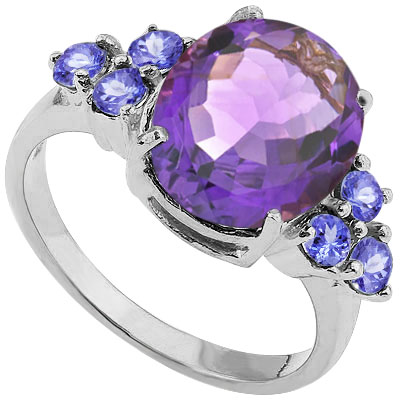 MARVELOUS 3.0 CARAT AMETHYST WITH 3MM GENUINE TANZANITE PLATINUM OVER 0.925 STERLING SILVER RING