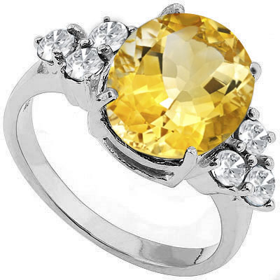 PRETTY 3.50 CARAT CITRINE & WHITE TOPAZ PLATINUM OVER 0.925 STERLING SILVER RING