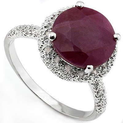 CHARMING 3.38 CT GENUINE RUBY & 15 PCS WHITE DIAMOND 0.925 STERLING SILVER W/ PLATINUM RING