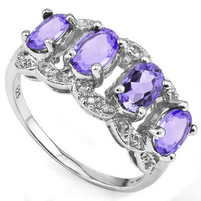 DAZZLING 1.71 CARAT TW (6 PCS) AMETHYST & GENUINE DIAMOND PLATINUM OVER 0.925 STERLING SILVER RING