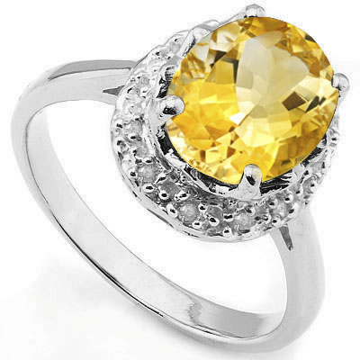 GREAT 2.47 CARAT CITRINE WITH DOUBLE GENUINE DIAMONDS PLATINUM OVER 0.925 STERLING SILVER RING