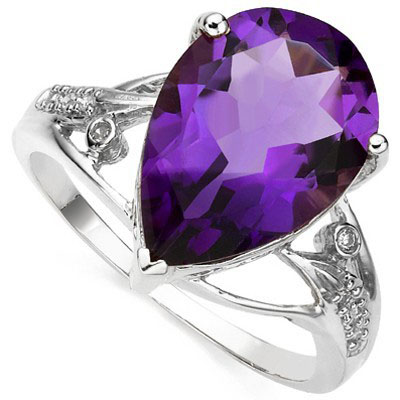 ASTONISHING 4.54 CT AMETHYST WITH DOUBLE GENUINE DIAMONDS 0.925 STERLING SILVER W/ PLATINUM RING