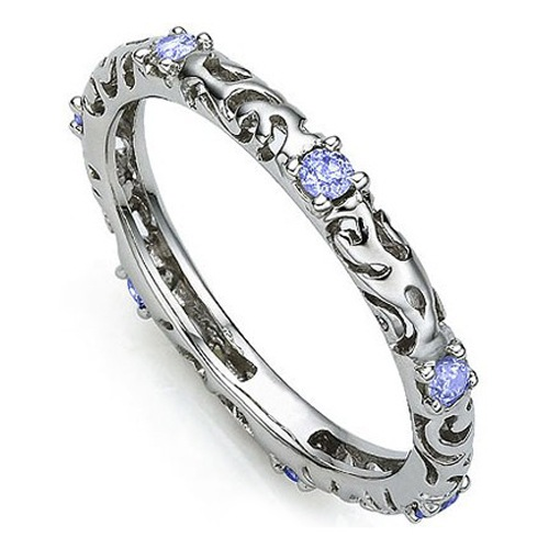 AMAZING 2.8 CARAT TW (7 PCS) GENUINE TANZANITE PLATINUM OVER 0.925 STERLING SILVER RING