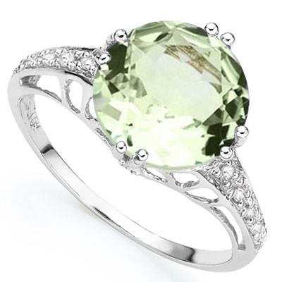 GLAMOROUS 2.50 GREEN AMETHYST WITH GENUINE DIAMONDS PLATINUM OVER 0.925 STERLING SILVER RING