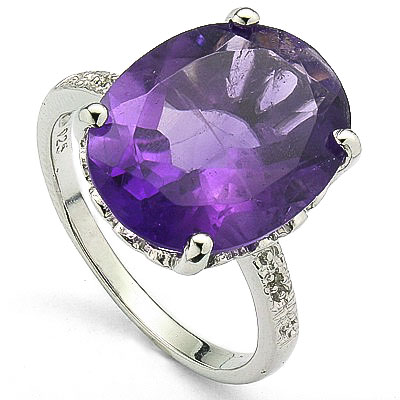 ELEGANT 6.90 CT AMETHYST 0.925 STERLING SILVER W/ PLATINUM RING