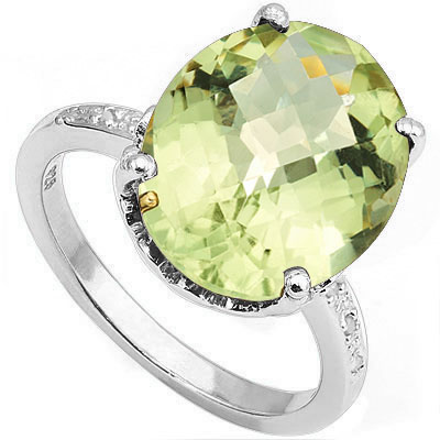 MAGNIFICENT 8.20 CT GREEN AMETHYST WITH DOUBLE GENUINE DIAMONDS 0.925 STERLING SILVER W/ PLATINUM RING