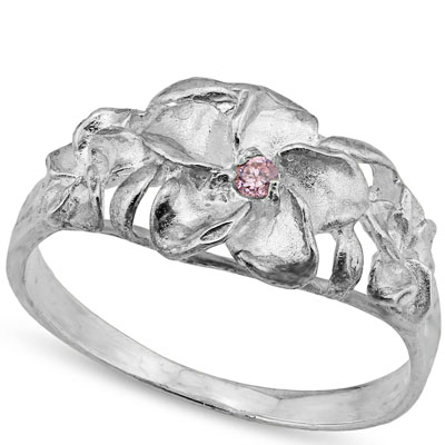 LOVELY 0.001 CARAT TW (1 PCS) GENUINE PINK SAPPHIRE PLATINUM OVER 0.925 STERLING SILVER RING