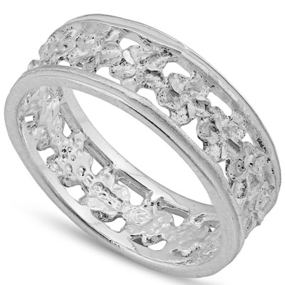 AWESOME PLATINUM OVER 0.925 STERLING SILVER RING