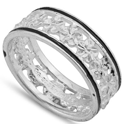 BRILLIANT PLATINUM OVER 0.925 STERLING SILVER RING