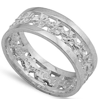 CLASSIC PLATINUM OVER 0.925 STERLING SILVER RING