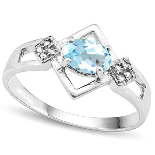 4/5 CARAT BABY SWISS BLUE TOPAZ & DIAMOND 925 STERLING SILVER RING
