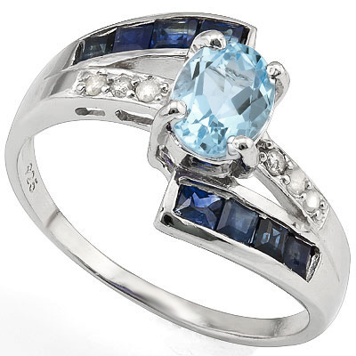 1 CARAT  BABY SWISS BLUE TOPAZ & 3/5 CARAT SAPPHIRE 925 STERLING SILVER RING