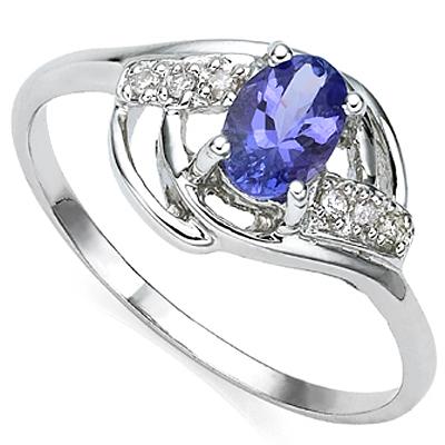 1/2 CARAT TANZANITE & DIAMOND 925 STERLING SILVER RING