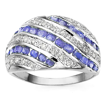MARVELOUS 29PCS GENUINE TANZANITE & 28PCS GENUINE DIAMONDS 10K SOLID WHITE GOLD RING