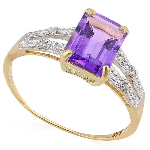 1 2/5 CARAT AMETHYST & DIAMOND 10KT SOLID GOLD RING