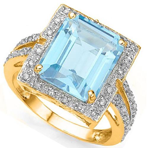 4 4/5 CARAT CREATED BLUE TOPAZ & 1/4 CARAT  44 PCS DIAMOND 925 STERLING SILVER RING