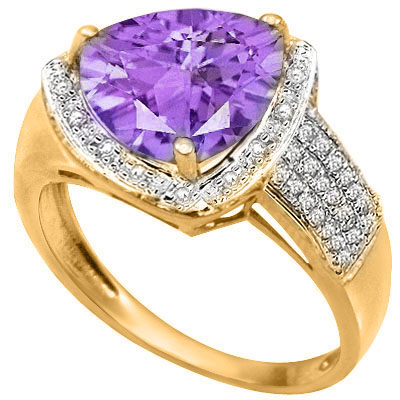 3 CARAT AMETHYST & 1/5 CARAT 32 PCS GENUINE DIAMOND 925 STERLING SILVER RING
