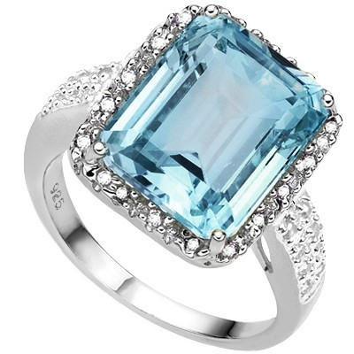4 3/4 CARAT CREATED BLUE TOPAZ & 1/5 CARAT 38 PCS DIAMOND 925 STERLING SILVER RING