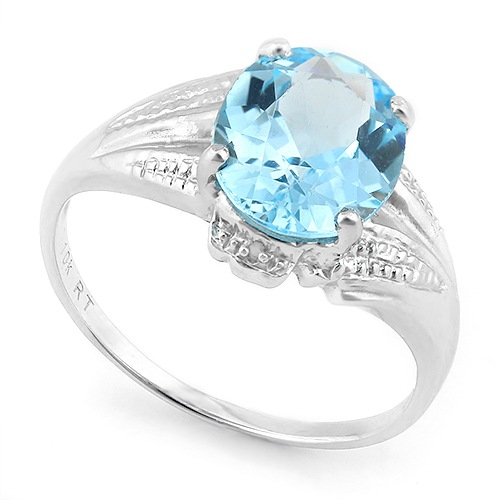2 1/5 CARAT CREATED BLUE TOPAZ & DIAMOND 925 STERLING SILVER RING