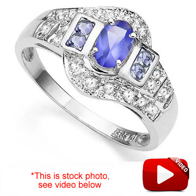 (See Video Inside)EXQUISITE 0.42 CT GENUINE TANZANITE & 20PCS GENUINE DIAMOND 14K <b><u>SOLID</b></u> WHITE GOLD RING
