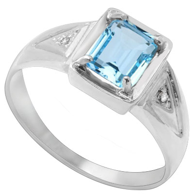 GREAT 1.16 CARAT BLUE TOPAZ & DOUBLE GENUINE DIAMONDS PLATINUM OVER 0.925 STERLING SILVER RING