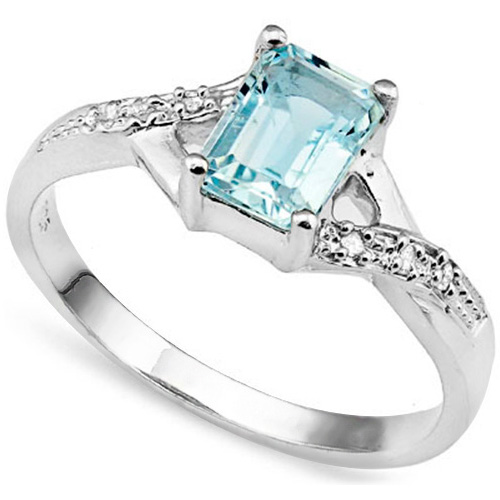 1 1/3 CARAT BABY SWISS BLUE TOPAZ & DIAMOND 925 STERLING SILVER RING
