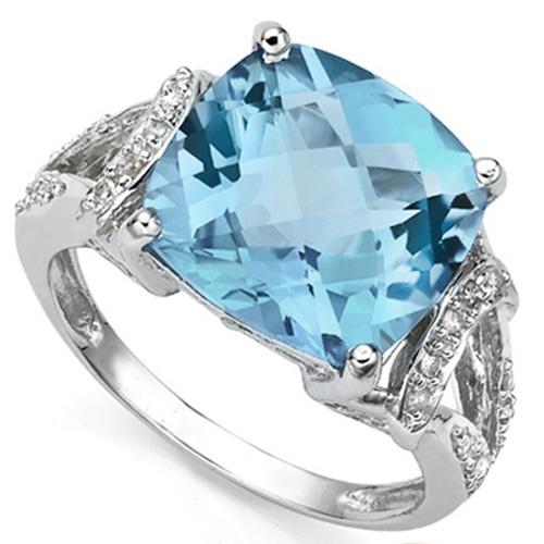 5 CARAT CREATED BLUE TOPAZ & 1/5 CARAT 22 PCS DIAMOND 925 STERLING SILVER RING
