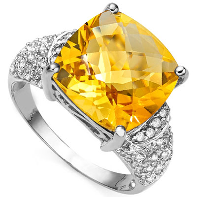 SPECTACULAR 6.5 CARAT CITRINE & 54PCS GENUINE DIAMOND (VS-SI) 10K SOLID WHITE GOLD RING