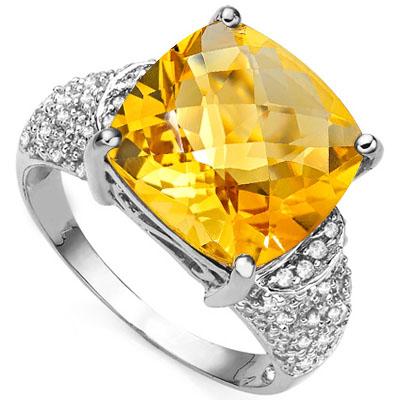 SPECTACULAR 6.5 CARAT CITRINE & 54PCS GENUINE DIAMOND (VS-SI) 10K SOLID WHITE GOLD RING