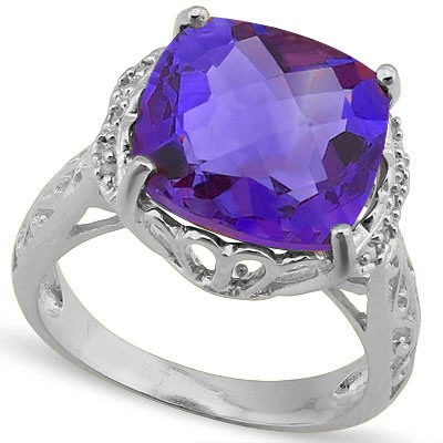 5 4/5 CARAT AMETHYST &  DIAMOND 925 STERLING SILVER RING