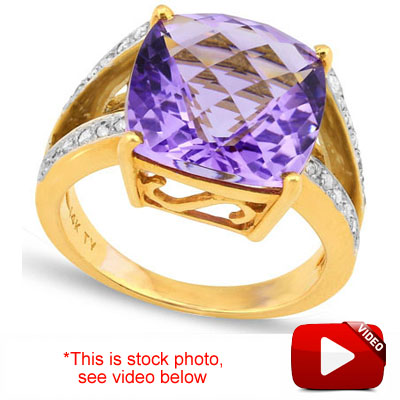 EXQUISITE 7.44 CARAT TW (33 PCS) DIAMOND & AMETHYST 14KT SOLID GOLD RING