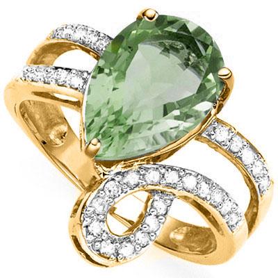 3 1/2 CARAT GREEN AMETHYST & 21 PCS GENUINE DIAMOND 925 STERLING SILVER RING