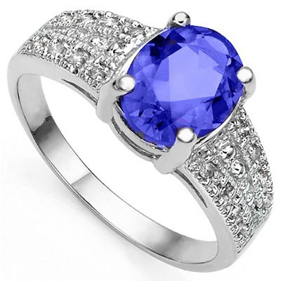 CAPTIVATING 2.01 CARAT GENUINE TANZANITE & 16PCS GENUINE DIAMONDS 10K SOLID WHITE GOLD RING