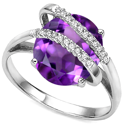 EXCLUSIVE 3.64 CARAT AMETHYST & 22PCS GENUINE DIAMONDS 10K SOLID WHITE GOLD RING