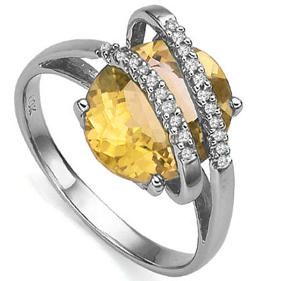 EXCELLENT 4.15 CARAT CITRINE & 22PCS GENUINE DIAMONDS 10K SOLID WHITE GOLD RING
