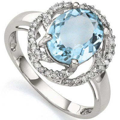 DAZZLING 3.28 CARAT TW (41 PCS) BLUE TOPAZ & GENUINE DIAMOND 10K SOLID WHITE GOLD RING