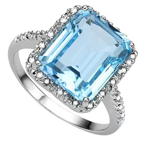 <B>GIA - </B>PRETTY 7.88 CARAT TW (23 PCS) BLUE TOPAZ & GENUINE DIAMOND 10KT <b><u>SOLID</b></u> WHITE GOLD RING
