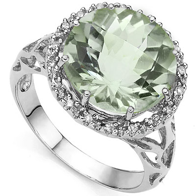 EXCELLENT 0.16 CARAT TW (19 PCS) GREEN AMETHYST & GENUINE DIAMOND 10K <b><u>SOLID</b></u> WHITE GOLD RING