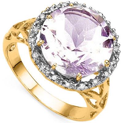 5 1/2 CARAT PINK AMETHYST & 18 PCS GENUINE DIAMOND 925 STERLING SILVER RING