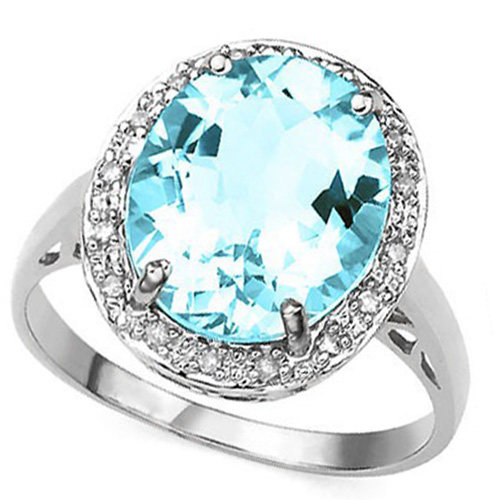 4 1/5 CARAT CREATED BLUE TOPAZ & 16 PCS DIAMOND 925 STERLING SILVER RING