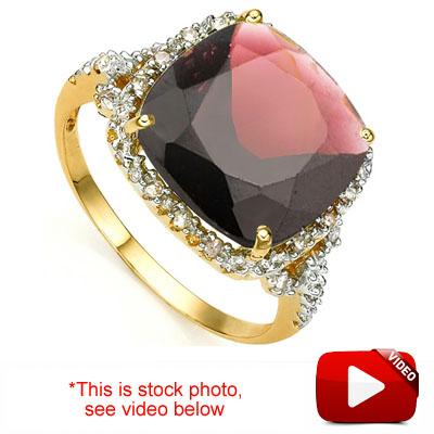 <B>GIA - </B>CLASSIC 6.8 CARAT TW (19 PCS) GARNET & GENUINE DIAMOND 10KT <b><u>SOLID</b></u> YELLOW GOLD RING