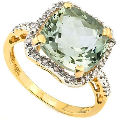 <B>GIA - </B>GLAMOROUS 5.73 CARAT TW (23 PCS) GREEN AMETHYST & GENUINE DIAMOND 10KT <b><u>SOLID</b></u> YELLOW GOLD RING