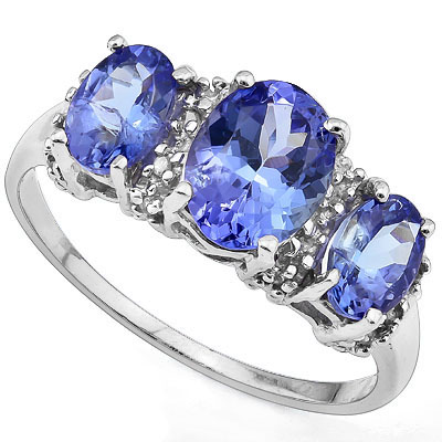 GREAT 6.86 CARAT GENUINE TANZANITE & 16PCS GENUINE DIAMONDS 10K SOLID WHITE GOLD RING