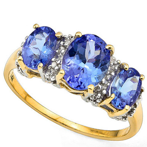 (See Video Inside)ELITE 2.44 CARAT TW (19 PCS) GENUINE TANZANITE & GENUINE DIAMOND 14K <b><u>SOLID</b></u> YELLOW GOLD RING