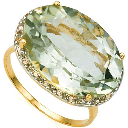 <B>GIA - </B>EXCLUSIVE 8.24 CARAT TW (19 PCS) GREEN AMETHYST & GENUINE DIAMOND 10KT <b><u>SOLID</b></u> YELLOW GOLD RING
