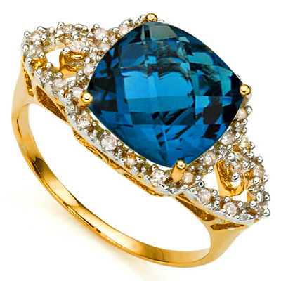 (See Video Inside)<B>GIA - </B>PRETTY 5.15 CARAT TW (29 PCS) LONDON BLUE TOPAZ & GENUINE DIAMOND 10KT <b><u>SOLID</b></u> YELLOW GOLD RING