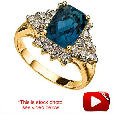 (See Video Inside)<B>DEA - </B>CLASSIC 3.46 CARAT TW (21 PCS) LONDON BLUE TOPAZ & GENUINE DIAMOND 14K <b><u>SOLID</b></u> YELLOW GOLD RING