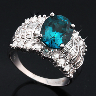 (See Video Inside)<B>DEA - </B>EXCELLENT 4.39 CARAT TW (74 PCS) GENUINE DIAMOND & LONDON BLUE TOPAZ 14K <b><u>SOLID</b></u> WHITE GOLD RING