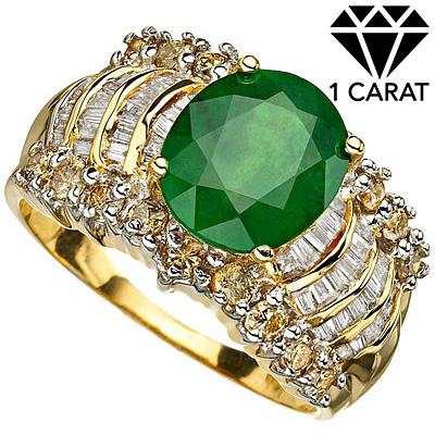 <B>DEA - </B> PERFECT 3.57 CARAT TW (70 PCS) GENUINE DIAMOND & GENUINE EMERALD 14K <b><u>SOLID</b></u>YELLOW GOLD RING
