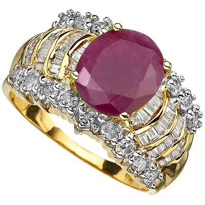 <B>DEA - </B>SPARKLING 4.16 CARAT TW (70 PCS) GENUINE DIAMOND & GENUINE RUBY 14K <b><u>SOLID</b></u> YELLOW GOLD RING